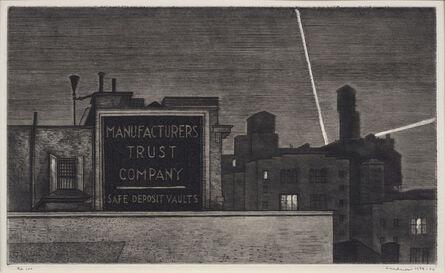 Armin Landeck, 'Manufacturers Trust/ Manhattan Nocturne', 1938-1974