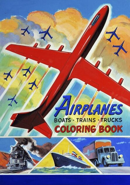 William F. Timmins, 'Airplanes, Boats, Trains, Trucks Coloring Book, design for a cover illustration'