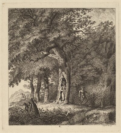 Salomon Gessner, 'Wooded Landscape with a Nymph and a Satyr', 1764