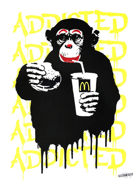 Thirsty Bstrd, 'Fast Food Monkey – McDonald's Yellow', 2016