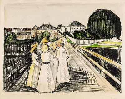 Edvard Munch, 'On the bridge', 1910