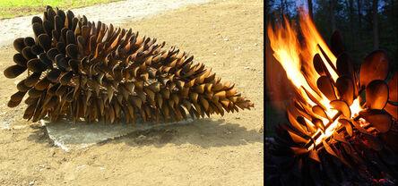 Floyd Elzinga, 'Fire Cone - large nature inspired corten steel outdoor sculpture fire pit', 2020