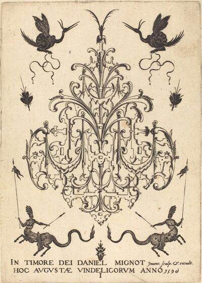 Daniel Mignot, 'Title-Page: Brooch, Snail-like Animals  Above, Centaurs with Banners at Bottom', 1596