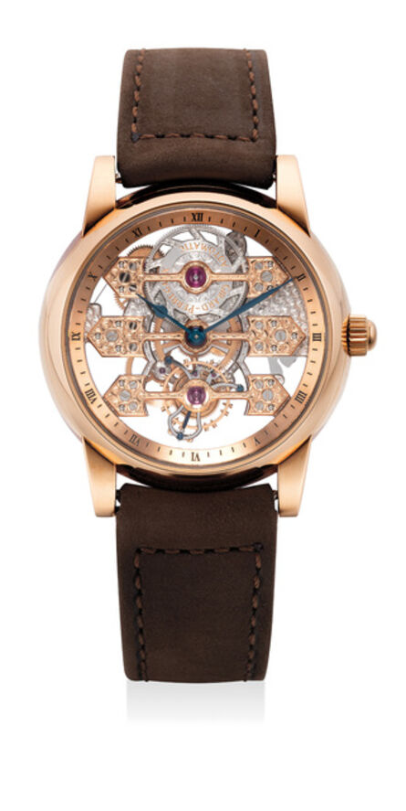 Girard Perregaux, 'A rare, extremely fine and unusual pink gold wristwatch with tourbillon regulator and three gold bridges movement', Circa 2006