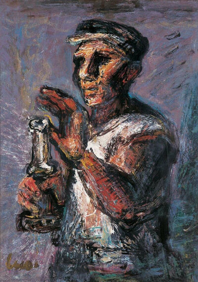 Luo Zhongli, 'Farmer with a Candle', 2004