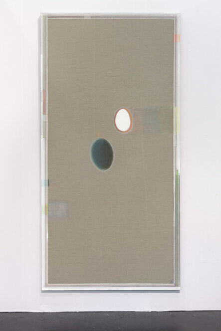 Christoph Schellberg, 'Unprimed painting with egg and dying shadow', 2014