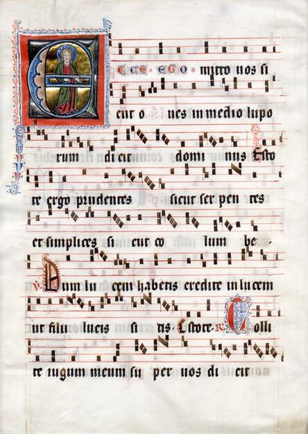 Regensburg School, 'Saint Bartholomew in an initial 'E' on a leaf from a Medieval Antiphonal', c. 1310