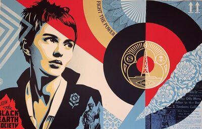 Shepard Fairey, 'Shepard Fairey Screen Print Black Earth Society Street Contemporary Art Gold Ink', 2021