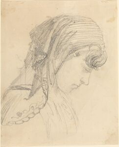 John Flaxman, 'Head of a Woman in a Scarf, Looking Down'