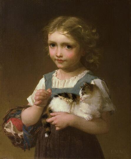 Emile Munier, 'Girl with Kitten', 1878