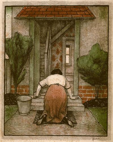 Francis Howard Spear, 'Woman scrubbing doorstep', ca. 1924