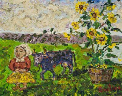 David Burliuk, 'Farm Girl with Cow and Sunflowers', 1882-1967