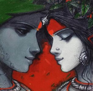 "Subrata Das, 'Love Pair, Acrylic on Canvas by Contemporary Indian Artist ""In Stock""', 2015-2021"