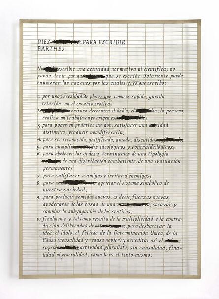 Pablo Lehmann, 'Lista de Roland Barthes', 2018