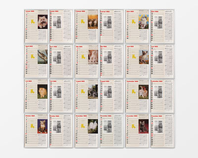 Hanne Darboven, '12 Months with Postcards from Today of Kittens', 1982
