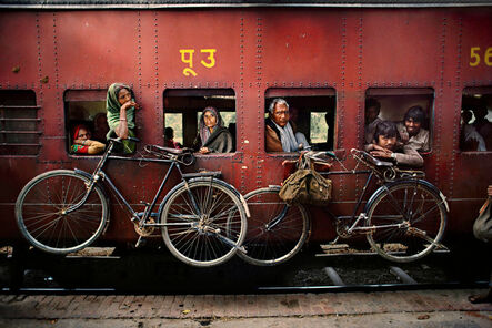 Steve McCurry, 'Bicycles on Side of Train'