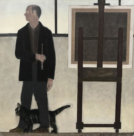Will Barnet, 'Self-Portrait with Minou', 1991