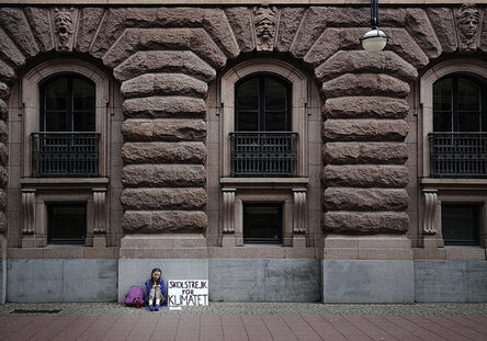 Adam Karls Johansson, 'Greta Thunberg's first school strike for Climate, outside the Swedish Parliament, August 20, 2018', 2018