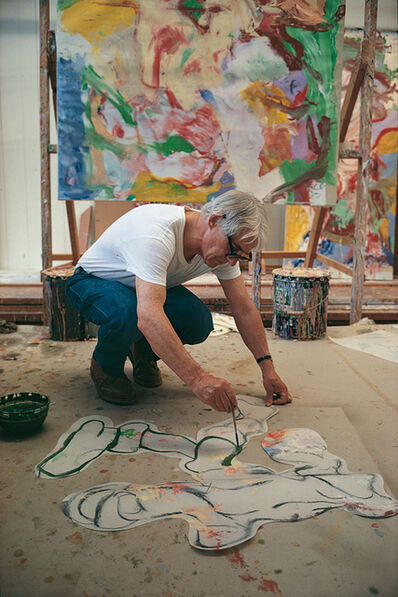 Dan Budnik, 'Willem De Kooning (1904-1997) with cartouche for painting in background, The Springs Studio, New York, 1968'