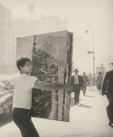 John Cohen, 'Alfred Leslie Carrying Painting on Fourth Avenue', 1959