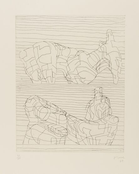 Henry Moore, 'Two Reclining Figures Linear (Cramer 107)', 1969