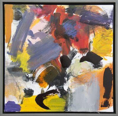 Scott Pattinson, 'Kairoi No 23 - small blue, red, yellow, orange, gestural abstract, oil on canvas', 2016