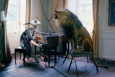 Tim Walker, 'Karen Elson at piano with singing Lion, Shotover House, Oxfordshire ', 2013