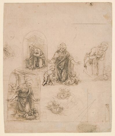 Leonardo da Vinci, 'Compositional Sketches for the Virgin Adoring the Christ Child, with and without the Infant St. John the Baptist; Diagram of a Perspectival Projection (recto); Slight Doodles (verso)', 1480–1485