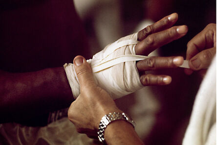 Thomas Hoepker, 'Muhammad Ali getting his hand strapped up', 1966