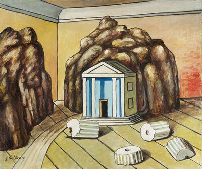 Giorgio de Chirico, 'Tempio e rocce in una stanza', mid 1970s