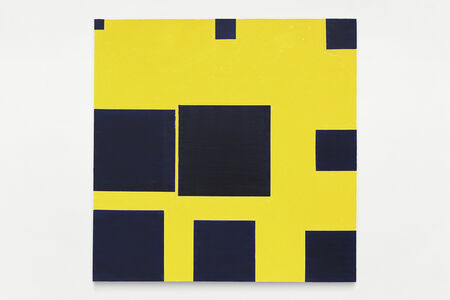 Paul Mogensen, 'no title (ivory black on cadmium yellow, nine square progression around the edges)', 2019