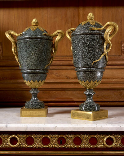 """Pierre Gouthière, 'A pair of Louis XVI period """" green porphyry """" vases mounted with entwined snake handles attributed to Pierre Gouthière', France, Louis XVI period, circa 1775 , 1780."""