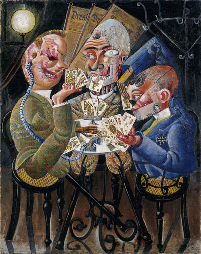 Otto Dix, 'The Skat Players - Card Playing War Invalids', 1920