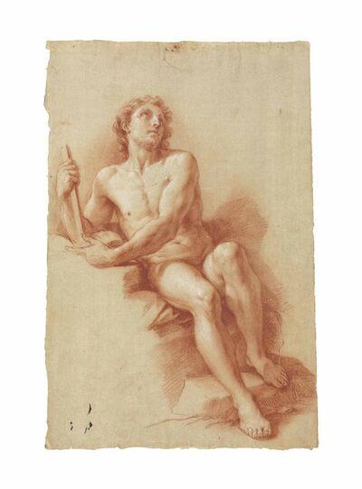 Circle of Pompeo Batoni, 'A male nude (recto), A seated female nude (verso)'