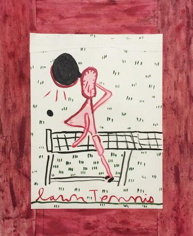Rose Wylie, 'Tennis Player, Black Racquet', 2017