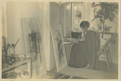 Nasreen Mohamedi, 'Nasreen at her studio in Bombay at the Bhulabhai Desai Institute', 1960