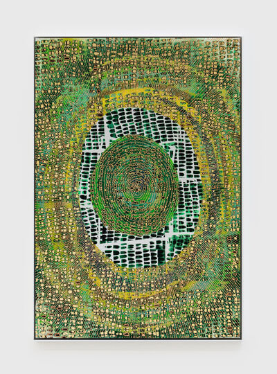 Mindy Shapero, 'Scar of Midnight Portal (life green, rings inside, radiating out) ', 2021