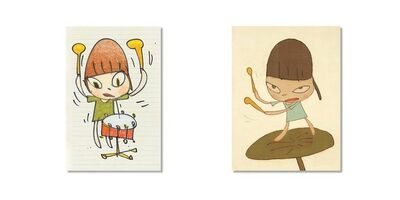 Yoshitomo Nara, 'Banging The Drums & Marching on a Butterleaf + Sticker Set', 2020