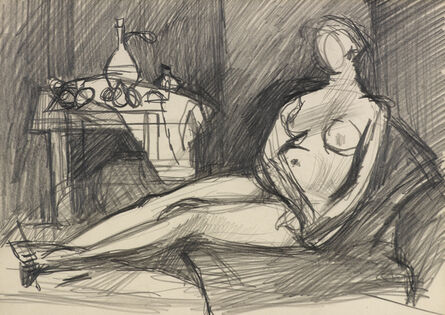 Keith Vaughan, 'Female Nude in Interior', ca. 1950