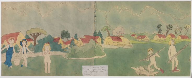 Henry Darger, 'At Jennie Richee Still Pursued Along the Aronburgs Run in the Storm by the Enemy', n.d.