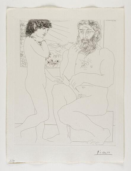 Pablo Picasso, ''Sculpteur songeant, Modèle aux Cheveux noirs et Bol avec trois Anémones' from the 'Suite Vollard'', 1933