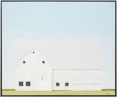 F. Lipari, 'Sheltered - minimalist, serene, white, green, realist barn scene, acrylic canvas', 2019