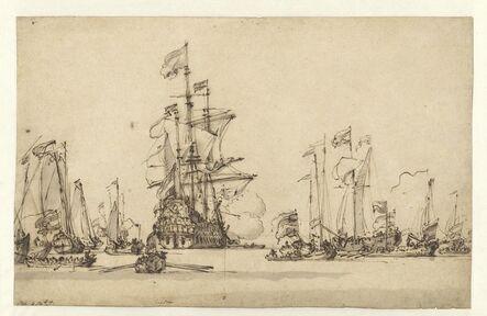Willem van de Velde II, 'De Gouden Leeuw Coming to Anchor in the IJ', 1673