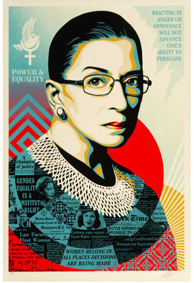 Shepard Fairey, 'A CHAMPION OF JUSTICE (Ruth Bader Ginsburg)', 2021
