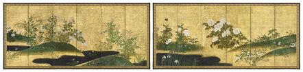 Rinpa School, 'Pair of Six-Panel Screens, Flowers of the Four Seasons (T-4168)', Edo period (1615, 1868), 18th century
