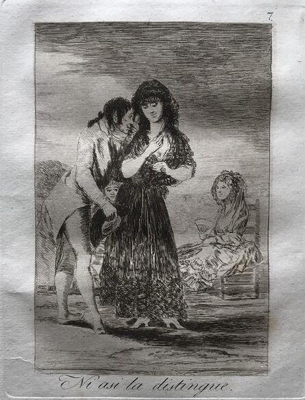 Francisco de Goya, 'Even thus he cannot make her out (Ni asi la distingue)', 1799