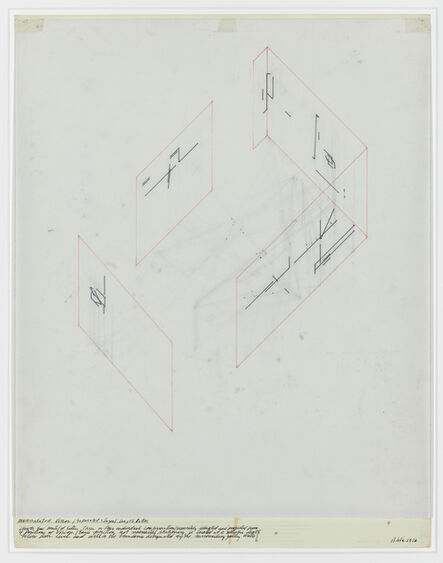 Barry Le Va, 'Accumulated Vision/ Separated Stages/: length ratios', 1976