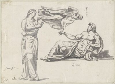 Jacques-Louis David, 'A River God and Two Classical Sculptures', 1775/80