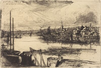 Francis Seymour Haden, 'Old Chelsea, Out of Whistler's Window (Battersea Reach)', 1863