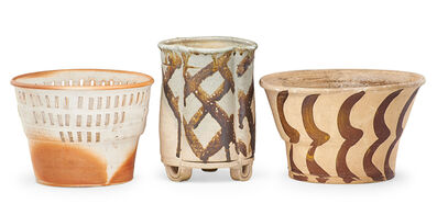 Betty Woodman, 'Three early vessels with hand-painted and cut-out decoration, New York', 1970s